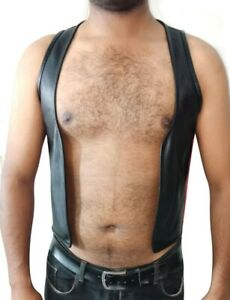 Men's Real Leather Cowhide Bar Vest Quality Bar Vest Red/White/Blue Stripes