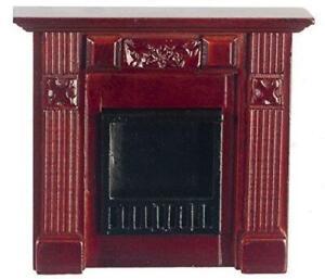 Dolls House Miniature Furniture Mahogany Victorian Bedroom Fireplace