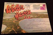 VINTAGE WINTER HAVEN FLORIDA SOUVENIR FOLDER POSTCARD POSTMARKED 1950