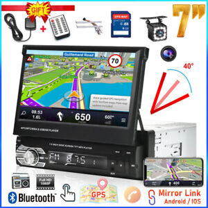 """7"""" Car Stereo Radio GPS Single 1 Din Flip Out Bluetooth Touch Screen MP5 +Camera"""
