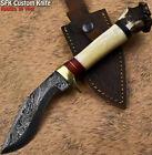 SFK Hand Forged Damascus Steel Crown Antler Art Hunting Skinner Knife