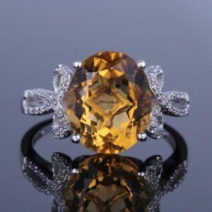 10x12MM OVAL DIAMOND & CITiRINE FANCY SEMI MOUNT ENGAGEMENT RING 14K WHITE GOLD