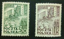 POLAND STAMPS MNH Fi579-80 Sc528,532 Mi717-18 - Building-six years plan, 1951,**