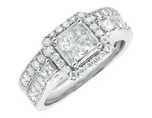 10k White Gold Princess Cut Cluster Diamonds Milgrain Wedding Engagement Ring