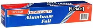 [ 5 Pack ] Heavy Duty Food Service Aluminum Foil Roll (18 inch x 500 FT)