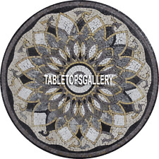 36'' Black Marble Table Dining Top Traditional Marquetry Inlay Patio Decor H3904
