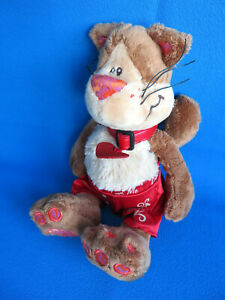 """11"""" LOVE ME 💘 🐱 KITTY CAT HEART TAG red SATIN PANTS soft plush toy KEEL TOYS"""