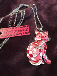 New Betsey Johnson Colorful Pink Enamel Cute Cat Pendant Sweater Chain Necklace