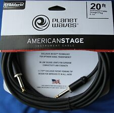 Planet Waves American Stage Series 20 ft Instrument Cable + Free Strings