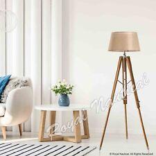 Tripod Floor Lamp Without Shade Wooden Vintage Style LED Teak Wood Light Decor
