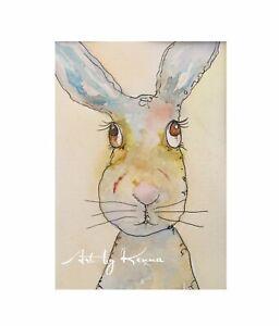 "Bunny Rabbit Watercolour Painting  Original Artwork By Kenna Unframed "" Love Me"""