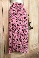 Jaclyn Smith Layered Wrap Skirt Ruffled 18W Light Flowy Pink Burgundy Skirt