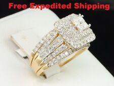 14K Yellow Gold Princess Diamond Engagement Ring Ladies Wedding Band Bridal Set