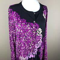Dana Buchman Women's Long Sleeve Top Blouse Size L Purple Pink Black, Abstract