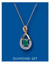 """Esmeralda Colgante Con Diamante Oro Amarillo 18"""" Cadena"""