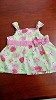 Toddler girl sleeveless top, Gymboree, pink,green,strawberries, 12-18 mos