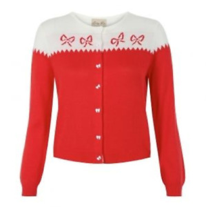 Lindy Bop 'Bettie' Red & White Bow Intarsia Knitted Cardigan BNWT Size 8-10