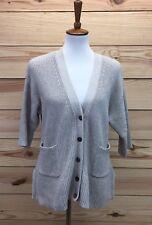 Gap Sweater Size XS/S Light Grey Marled Cardigan Short Sleeve Ribbed Pockets B82