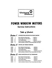 GM Power Window Service Manual 1954-1965 Chevy Pontiac Buick Cadillac Oldsmobile