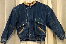 Winter Men Bomber Denim Jacket Vintage Plaid interior Leather trim Size Large