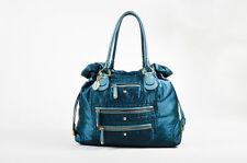 "Tod's Emerald Blue Nylon Leather Trim ""Pashmy Pockets Media D-Bag"" Tote"
