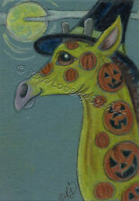Giraffe Halloween witch Pumpkin tattoo ACEO EBSQ Loberg Mini fantasy Art moon