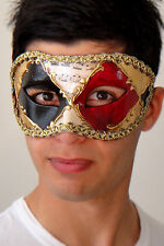 Mens Masquerade Mask Ruby - OVERNIGHT Metro Delivery -Italian Made- Ex Quality