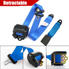 Blue Retractable 3 Point Seat Belt With Quick Release Camlock Nylon Straps