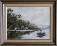 John Hingerty (1930-2019) Original Oil Painting Fishing at Port Hacking Sydney