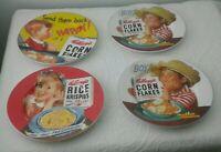 "4 Vintage 2005 Kelloggs Corn Flakes & Rice Krispies Plates Boy Girl 8.25"" R7/1"