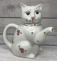 "Vintage White Porcelain Kitty Cat Tea Pot Creamer Hand Painted 6"" Japan EUC"