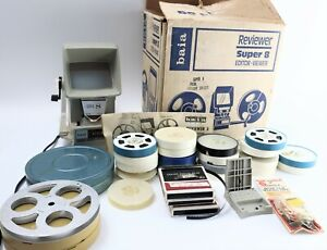 Original WORKING Baia Super 8 Reviewer & Editor w/ Vintage Reels Canisters Film