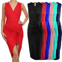 *CLEARANCE* Women's Sleeveless Front Wrap Ruched Shirred Slim Fit Mini Dress USA