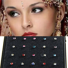 Fashion 60pc Crystal Nose Rings Bone Studs Stainless Steel Body Piercing Jewelry
