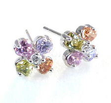 Clove Flower Girl Women Stud Earrings White Gold Plated Lilac Simulated Diamond