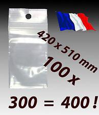 LOT 100  sachet zip grand pochette plastique fermeture zip 420x510 42x51    f