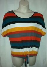 Katies Short Sleeve Machine Washable Striped Tops for Women