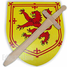 WOODEN ROLE PLAY TOY SWORD WITH SCOTTISH RAMPANT LION EMBLEM MOTIF SHIELD