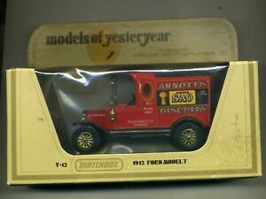 MATCHBOX MODELS OF YESTERYEAR 1978 LESNEY Y12 1912 FORD T  ARNOTTS POST FREE