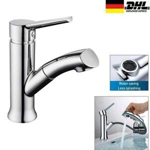 Bad Wasserhahn Waschtischarmatur mit Ausziehbar Brause Waschbecken Mischbatterie