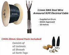 2.5mm 3 Core SWA Steel Wire Armoured Cable 30M BASEC + CW20s Gland Pack FREE P&P