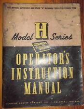Cummins Diesel Model H Series Operator's Instruction Manual Circa 1945 100+ Pges