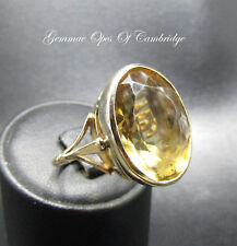Large 9K Gold 9ct Gold Oval cut Citrine Ring Size P 8.4g 16.25 carats
