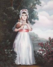 "High quality oil print , ""Little Girl With Kitten"" 11"" x 14""., unframed."