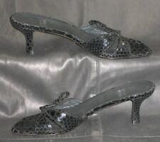 Stuart Weitzman black croc print leather mules sandals Women's shoes size 6 M