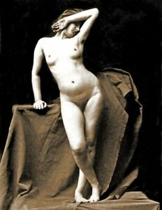 """1860's Standing Female Nude Old Photo 8.5"""" x 11"""" Reprint"""