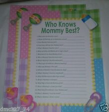 24 Baby Shower Party Question Game Ice Breaker WHO KNOWS MOMMY BEST