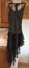 BCBG Max Azria size XS halter dress asymmetrical hem black with white polka dots