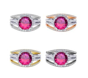 18k Gold Plated Brilliant Ruby Red Wedding Engagement Silver Ring Set 2.35 Ct
