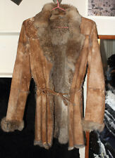 Manteau en peau de lapin retourné fourrure lapin camel taille S